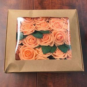 50 Pcs Artificial Rose Flower Heads Wedding Orange